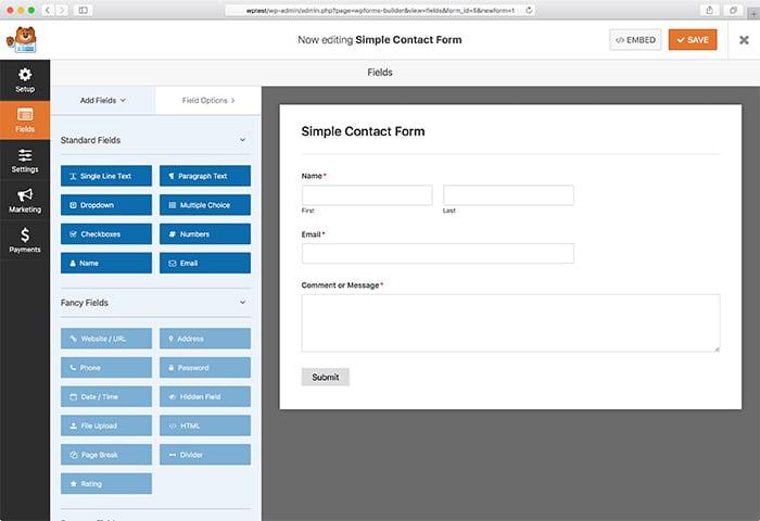 WPForms screenshot