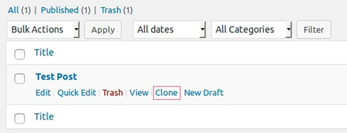 Duplicate post screenshot